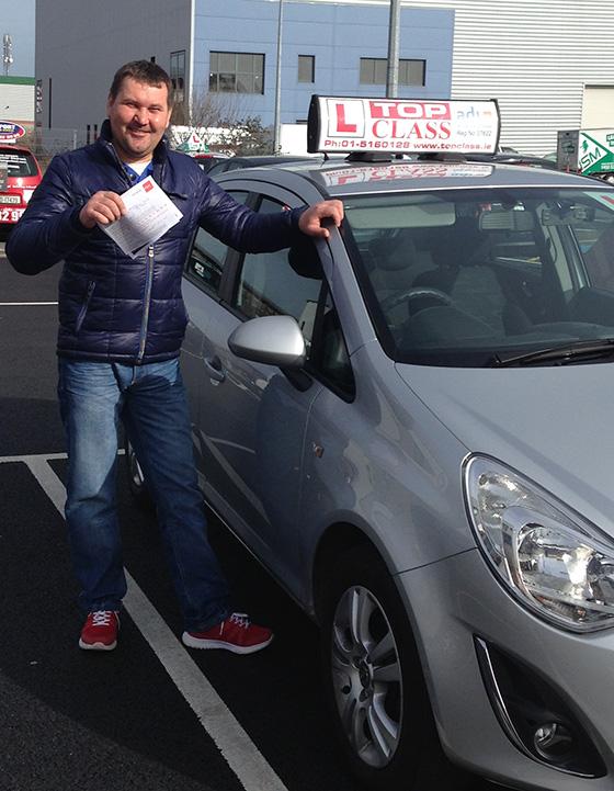Alexandr passes his driving test